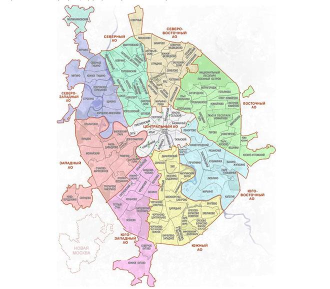 Территория Москвы в 2017 году: административные округа и районы с границами на карте